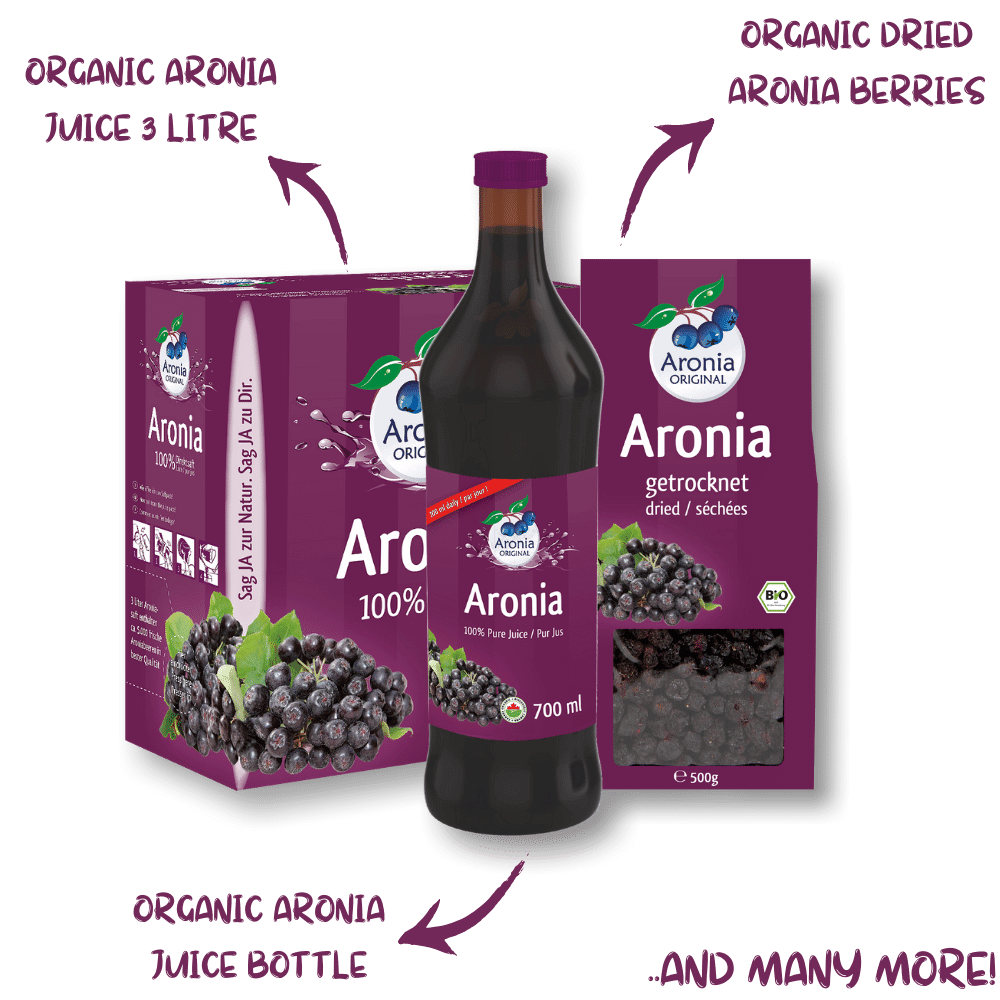 Aronia ORIGINAL Products Aronia Juice and Dried berries