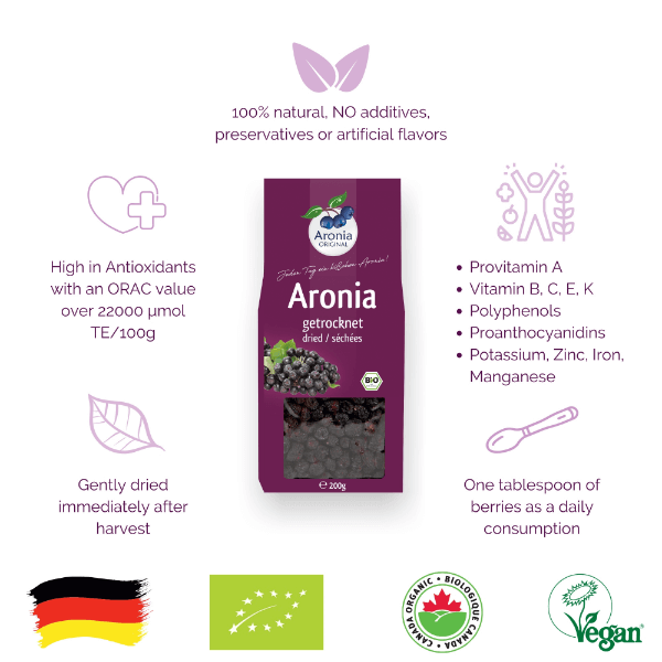 organic dried aronia berries 200 g benefits and cerifications
